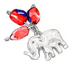 28 AJ elephant keyring