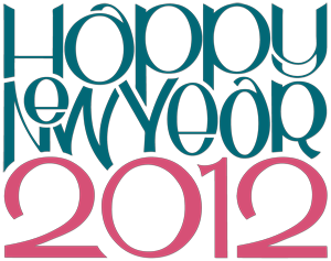 33 Happy New Year 2012 teal cranberry