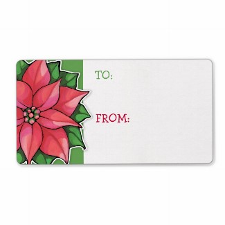54 poinsettia_joy_green_gift_tag_sticker_label-p106724121230612250bh3jf_325