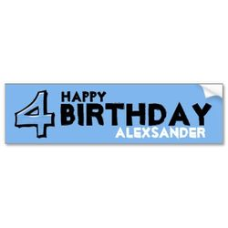 Silly_number_4_blue_birthday_bumper_sticker