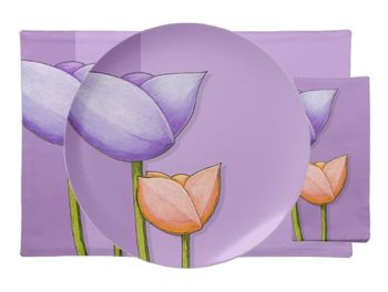 28 Simple Flowers purple orange Table Setting