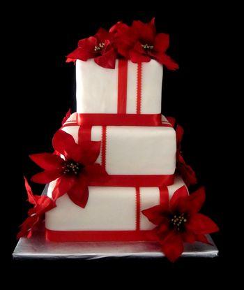 58 red-poinsettia-wedding-cake