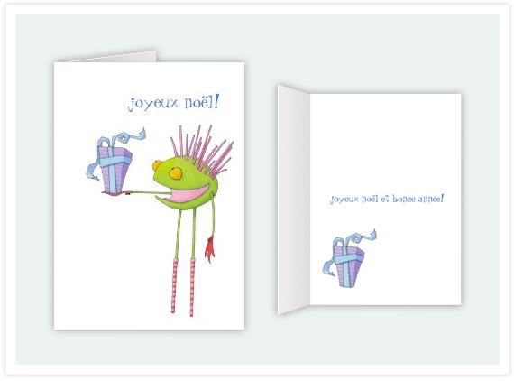 Joyeux nol and feliz navidad floating lemons treats 106 critter cedric french christmas card m4hsunfo Images
