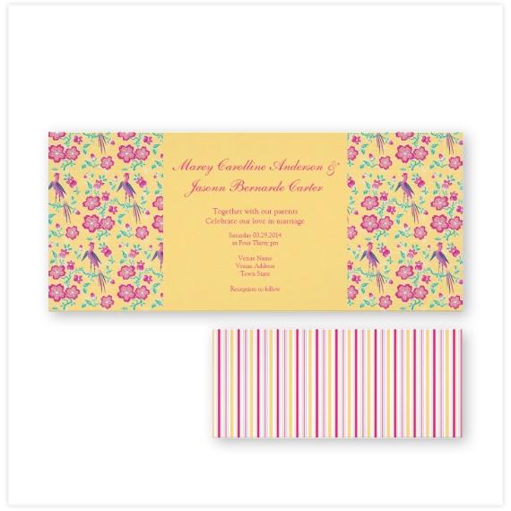 143-Sakura-Batik-Stripes-yellow-Long-Wedding-Invite