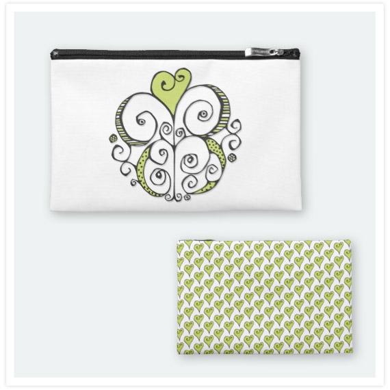 Heart-Motif-green-Travel-Accessory-Bag