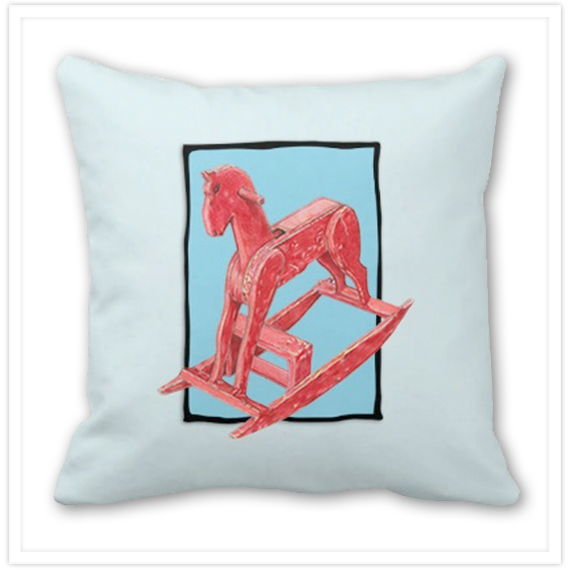 Red-Rocking-Horse-Throw-Pillow