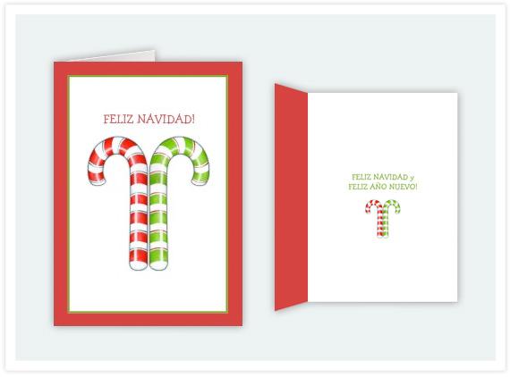 Joyeux nol and feliz navidad floating lemons treats 106 candy canes red green spanish christmas card m4hsunfo