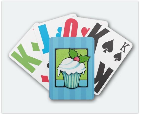 114-Christmas-Holly-Cupcake-blue-Playing-Card