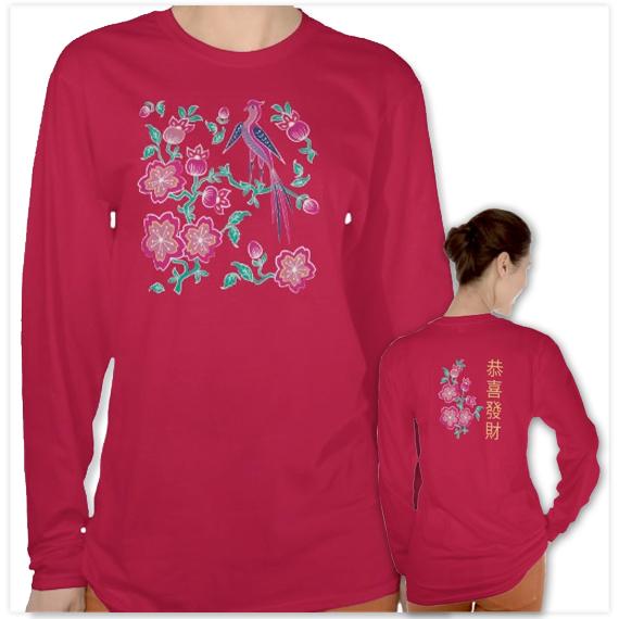 137-Sakura-Floral-Batik-Chinese-New-Year-Ladies-red-T-Shirt-3