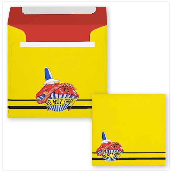 Crime Scene Cupcake yellow Square Envelope