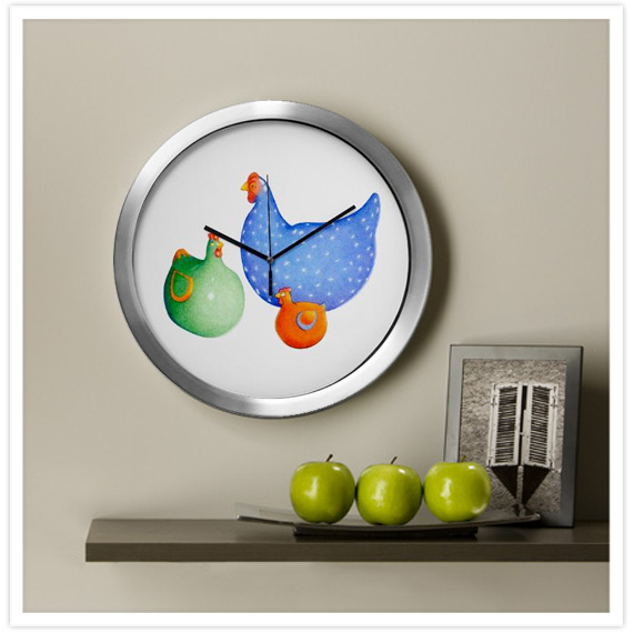 Spring-French-Hens-Wall-Clock