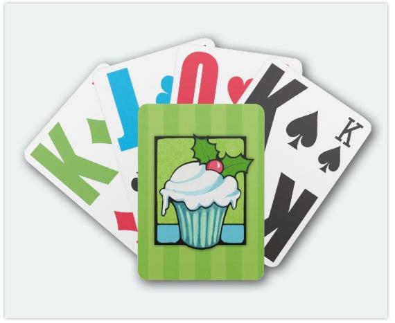 114-Christmas-Holly-Cupcake-green-Playing-Card
