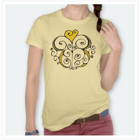 Heart-Motif-yellow-Ladies-T-shirt