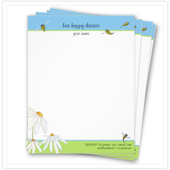 Spring-Bee-Happy-Daisies-Letterhead