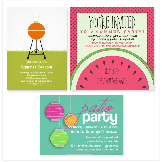 summertime party invitations floating lemons treats