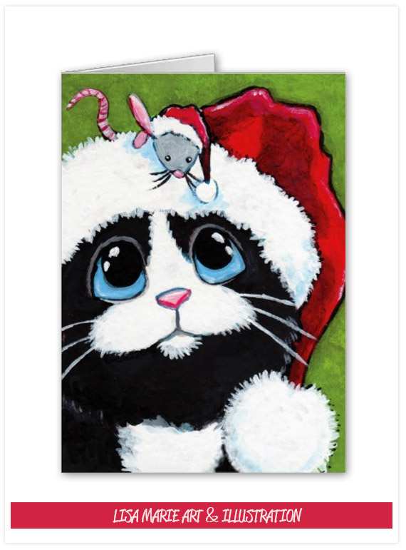 Tuxedo Cat & Festive Mouse Christmas Card