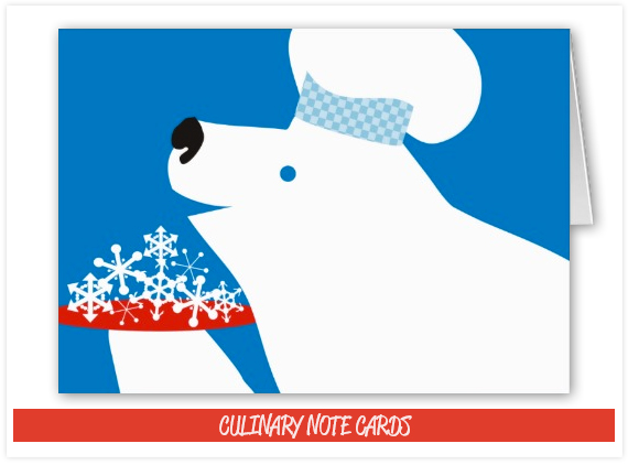 Polar Bear Chef cooking eating snowflakes Christmas Card