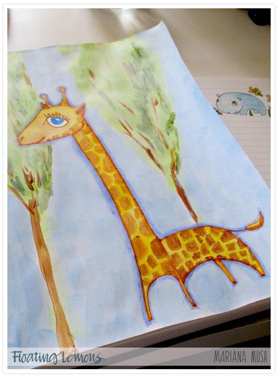 Baby giraffe sketch book