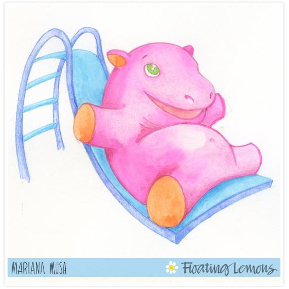 Baby hippo watercolour