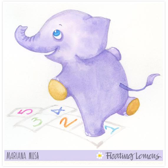 Baby elephant watercolour