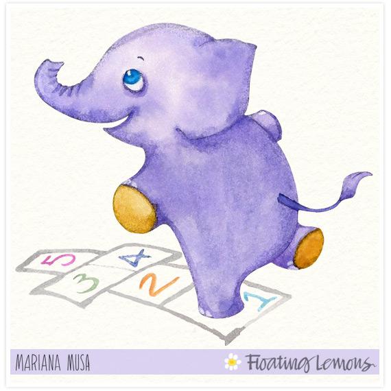 Baby elephant watercolour final