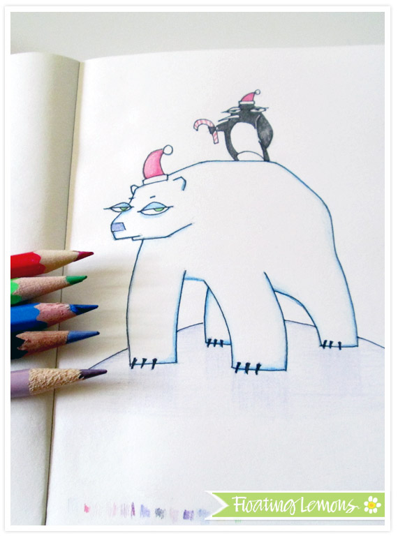 Polar bear christmas sketch by floating lemons