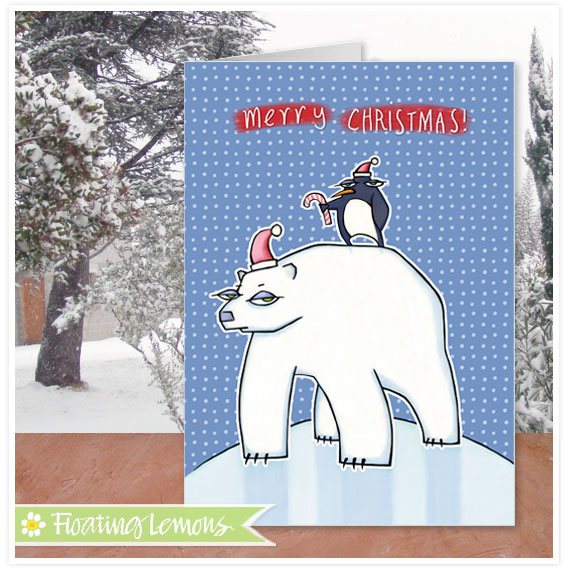 Polar bear christmas blue card