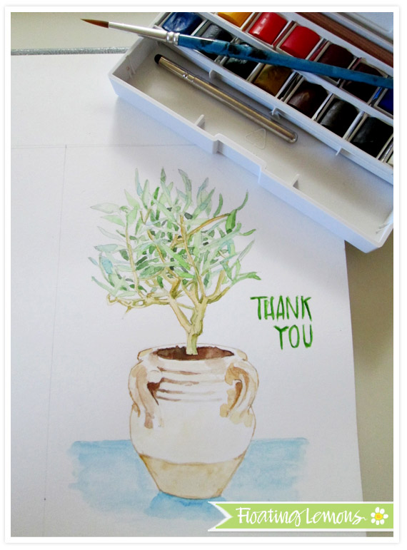 Olive tree pot watercolour