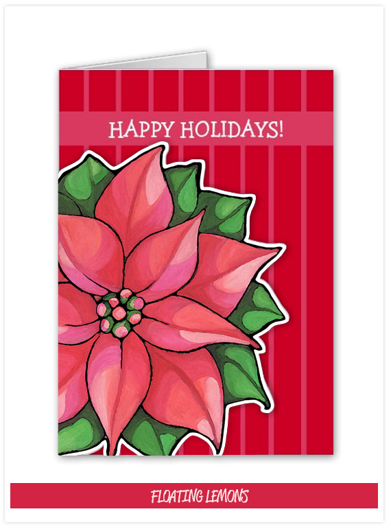 Poinsettis Joy red stripes Holiday Card