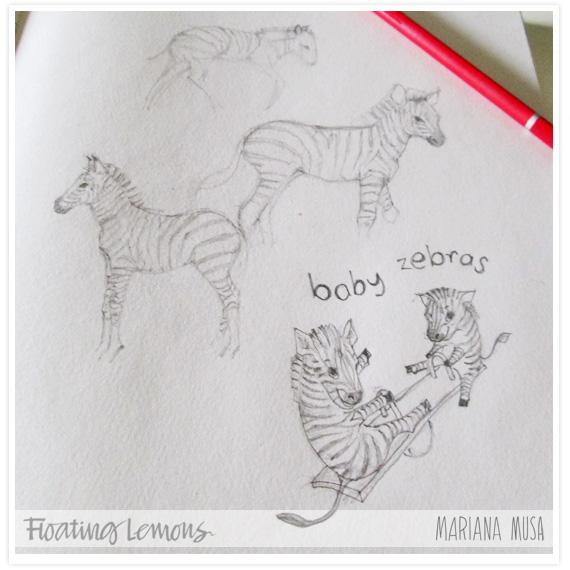 Baby zebras sketch by Mariana Musa