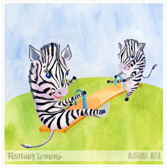 Baby zebras watercolour