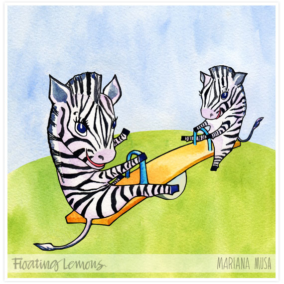 Baby zebras watercolour outlined