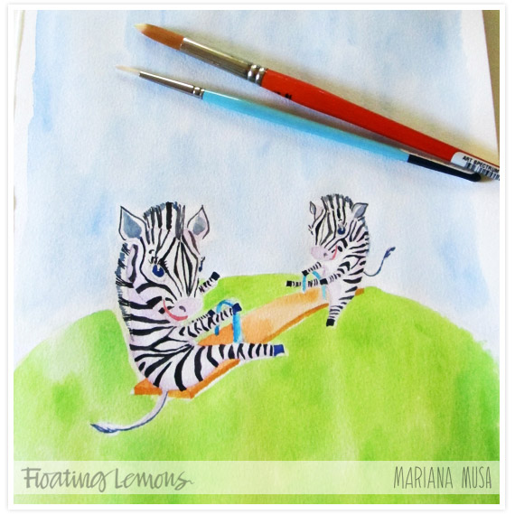 Baby zebras watercolour sketch