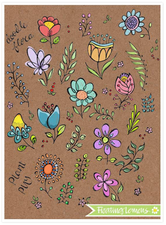 Doodle Flowers and Leaves by Mariana Musa