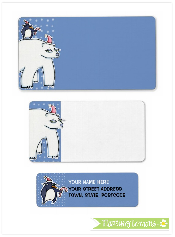 Polar bear christmas blue labels