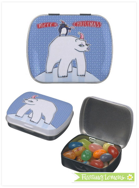 Polar bear christmas blue candy tin