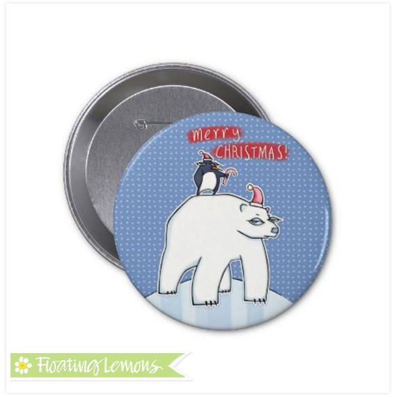 Polar bear christmas blue button