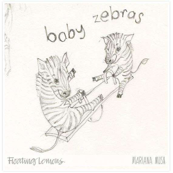 Baby zebras seesaw sketch by Mariana Musa