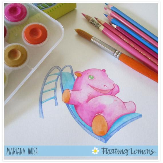 Baby hippo watercolour sketch