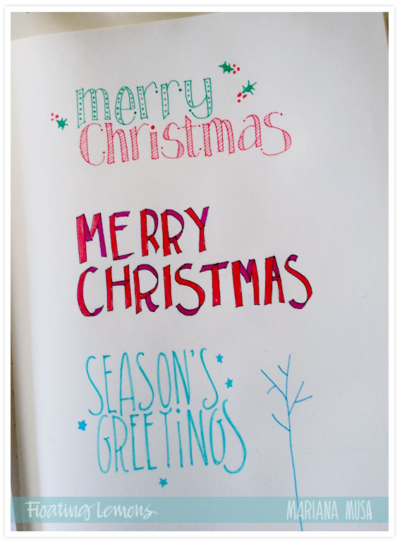 Christmas typography sketches