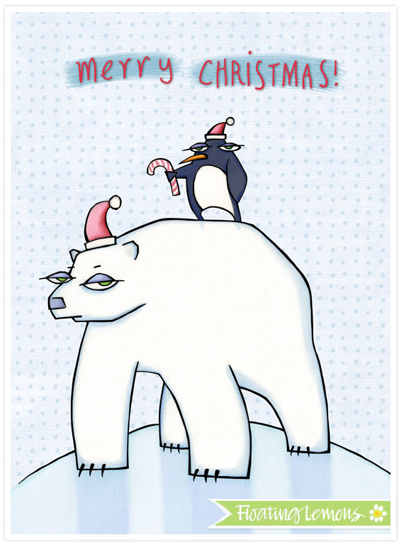 Polar bear christmas white by floating lemons