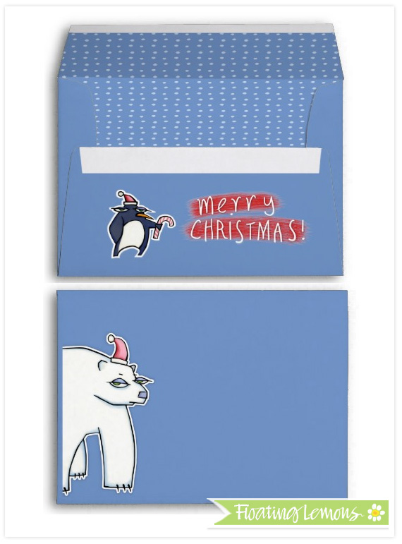Polar bear christmas blue envelope