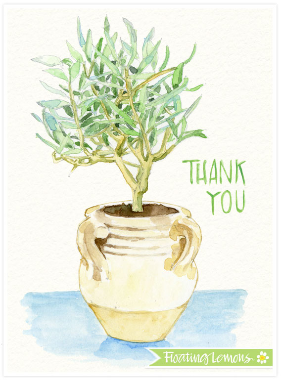 Olive tree pot thank you