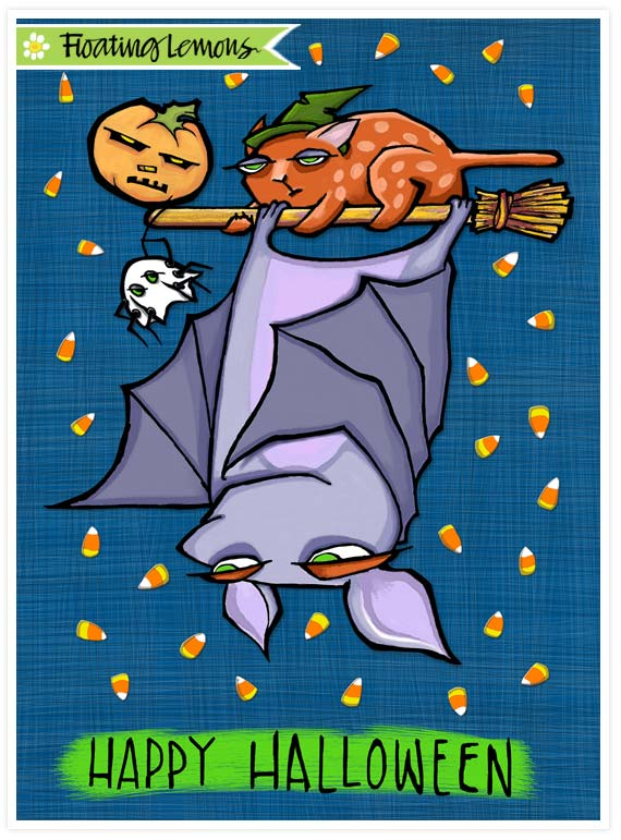 Grouchy bat halloween card