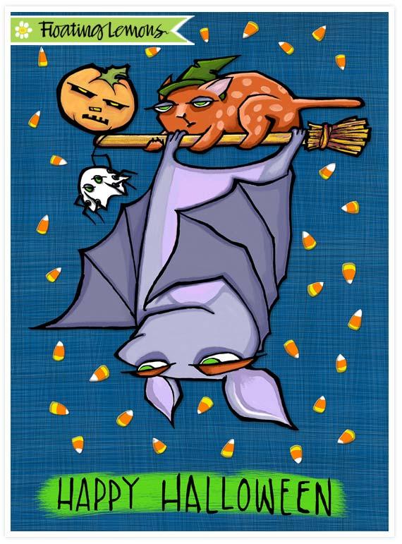 Grouchy bat halloween card