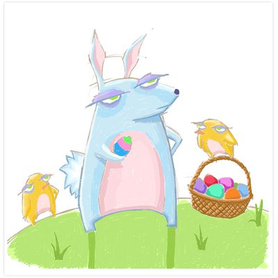 Grouchy rabbit easter 2