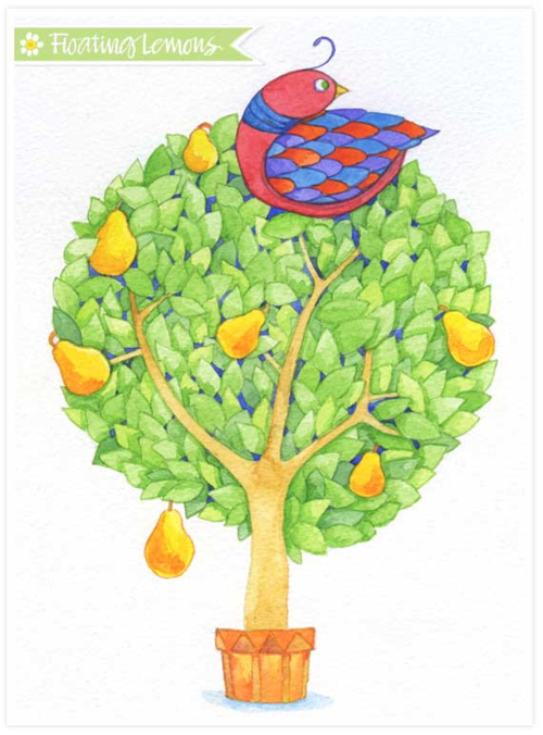 Partridge in a Pear Tree watercolour