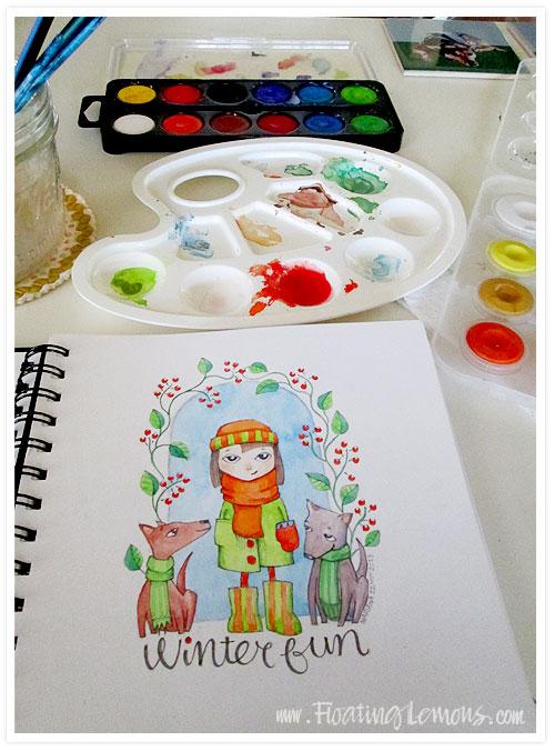 Winter-fun-watercolour-floating-lemons