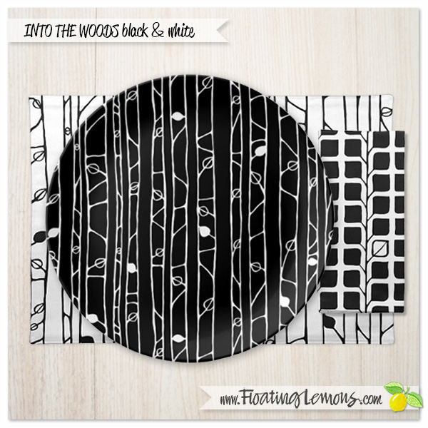 Into-the-Woods-black-white-table-setting-3-by-Floating-Lemons