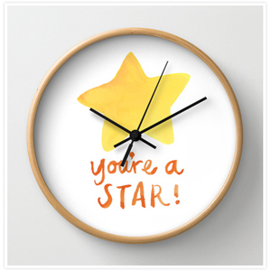 Youre a Star Clock by Floating Lemons